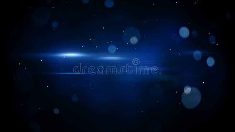 O bokeh azul circunda e a luz alarga-se fundo abstrato ilustração do vetor