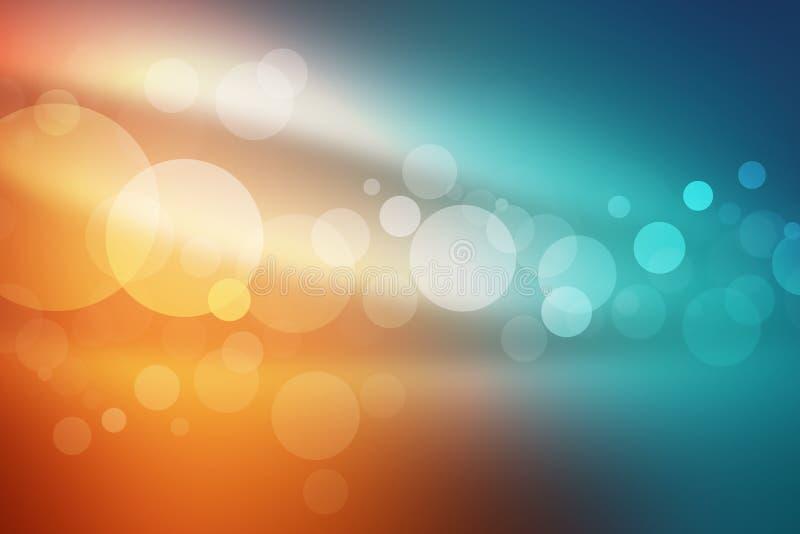 O bokeh azul da laranja e do mar abstrai o fundo claro ilustração stock