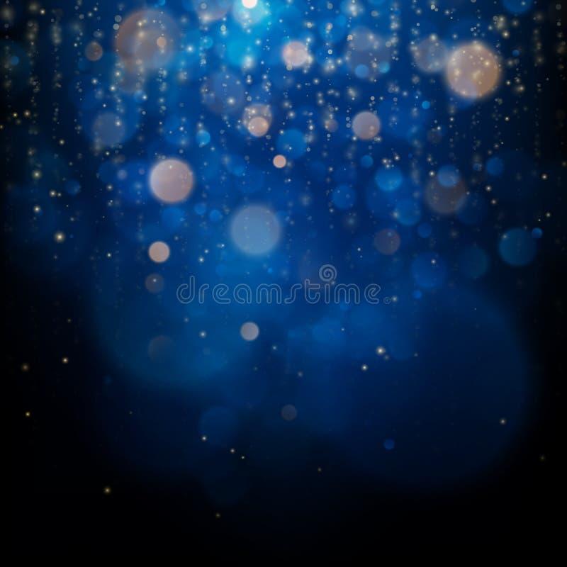 O bokeh borrado ilumina-se em escuro - fundo azul Molde dos feriados do Natal e do ano novo Brilho abstrato Defocused ilustração royalty free