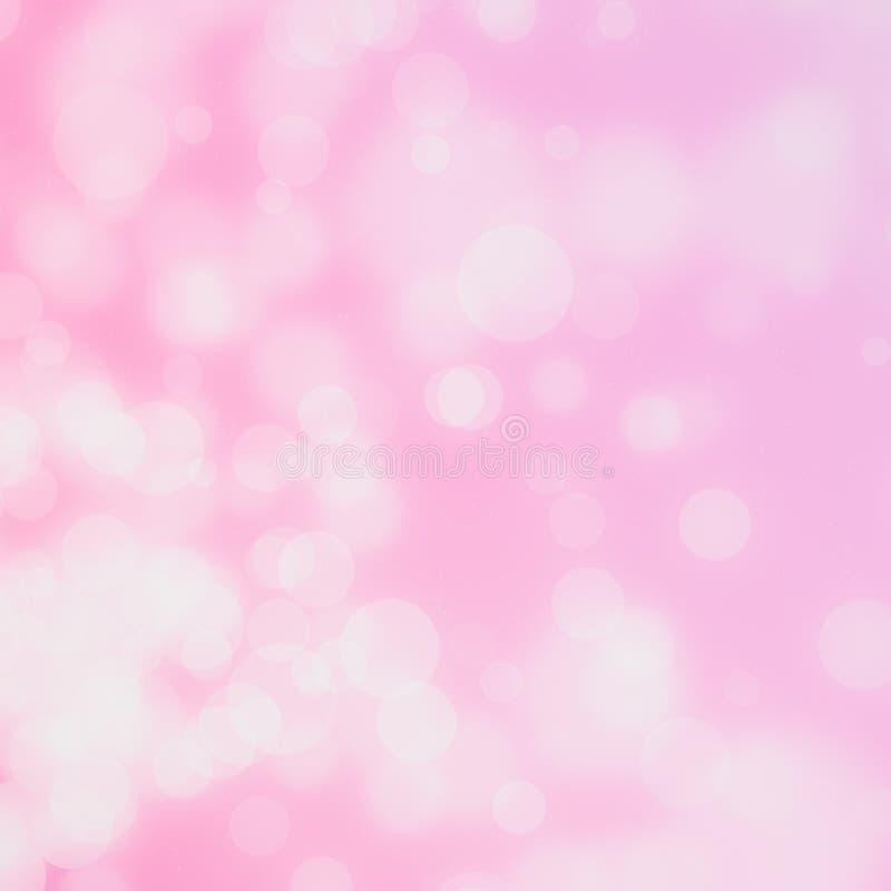 O bokeh branco do círculo no fundo cor-de-rosa borrou a luz ilustração do vetor