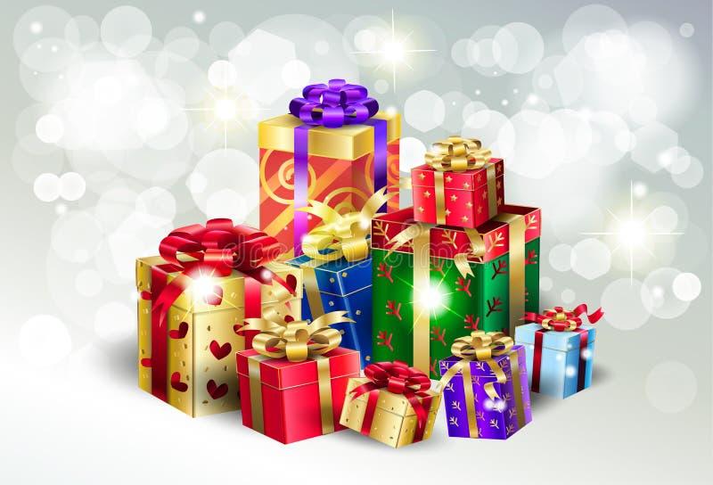 O bokeh de prata das caixas de presente do Natal ilumina o papel de parede ilustração stock