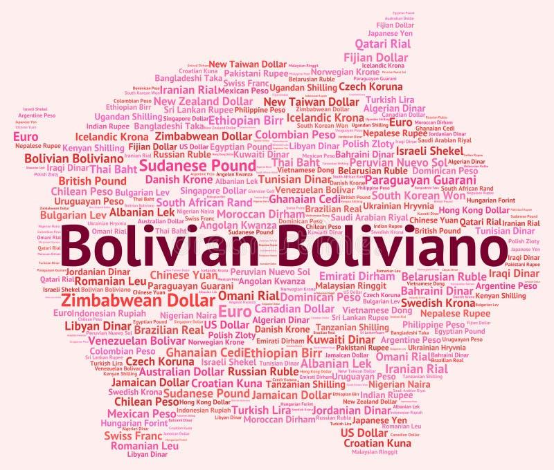 O Boliviano boliviano indica a troca Rate And Banknotes ilustração royalty free