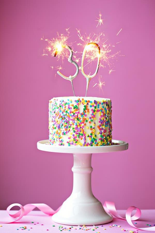 30o bolo de aniversário imagens de stock
