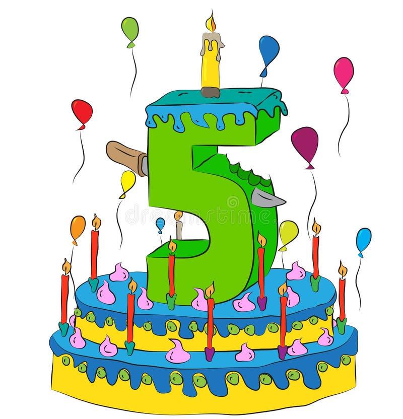 O bolo de aniversário com número cinco Candle, comemorando o quinto ano de vida, balões coloridos e revestimento do chocolate ilustração do vetor