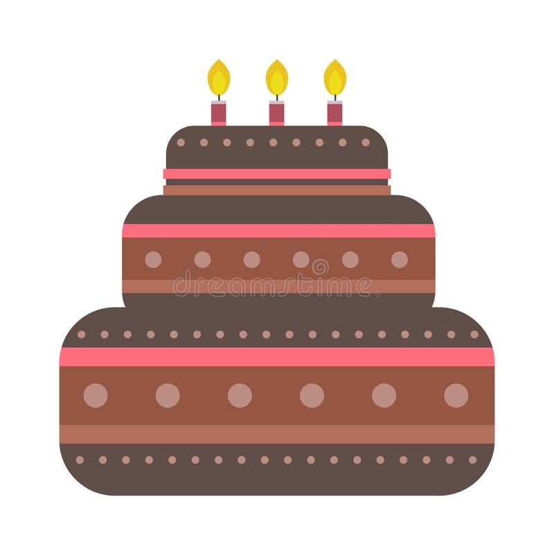 O bolo de aniversário de creme do chocolate cobriu a torta isolada com fatia branca e as flores de creme decoraram o vetor ilustração stock