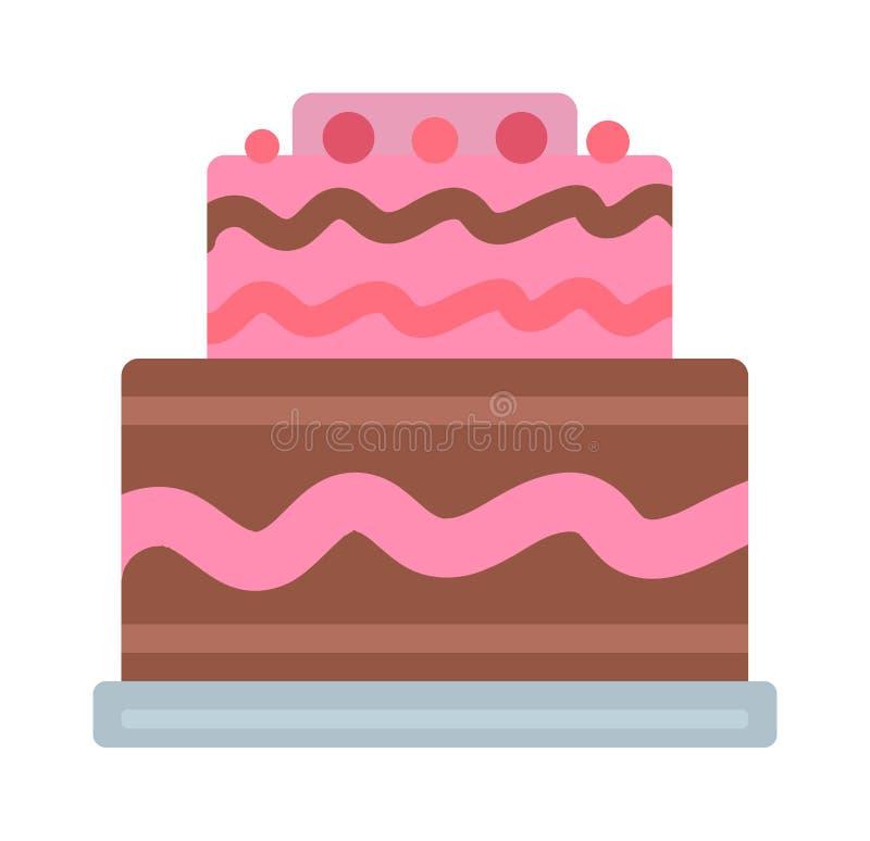 O bolo de aniversário de creme do chocolate cobriu a torta isolada com fatia branca e as flores de creme decoraram o vetor ilustração royalty free