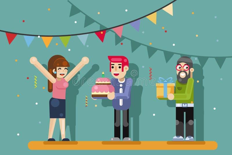 O bolo de aniversário fêmea da caixa de presente dos amigos do partido da menina bonito comemora a ilustração lisa do vetor do pr ilustração do vetor