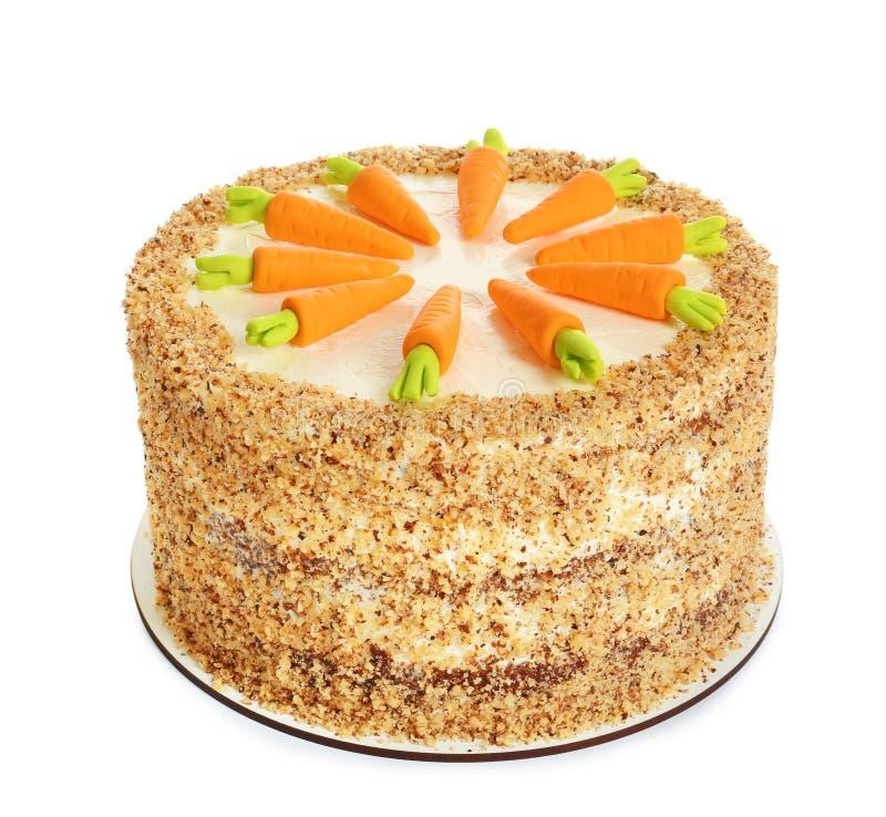 O bolo de cenoura natural delicioso isolou-se fotos de stock