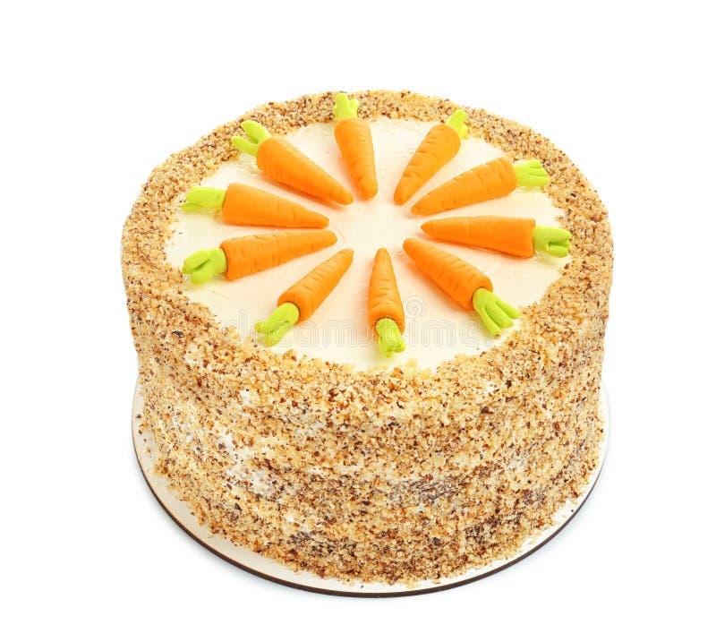 O bolo de cenoura natural delicioso isolou-se foto de stock