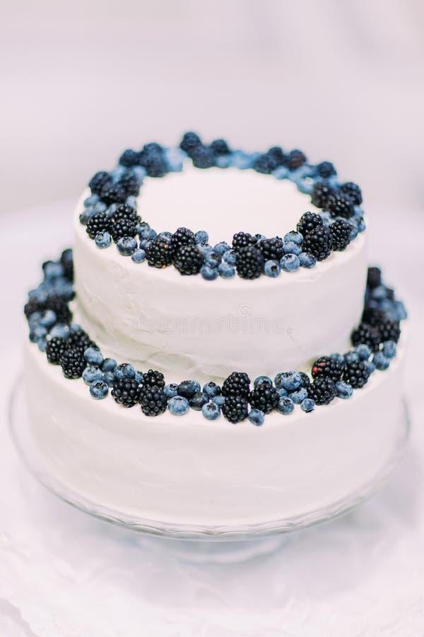 O bolo de creme cândido delicioso decorado com uvas-do-monte e amoras-pretas isolou o close-up no fundo branco imagens de stock royalty free