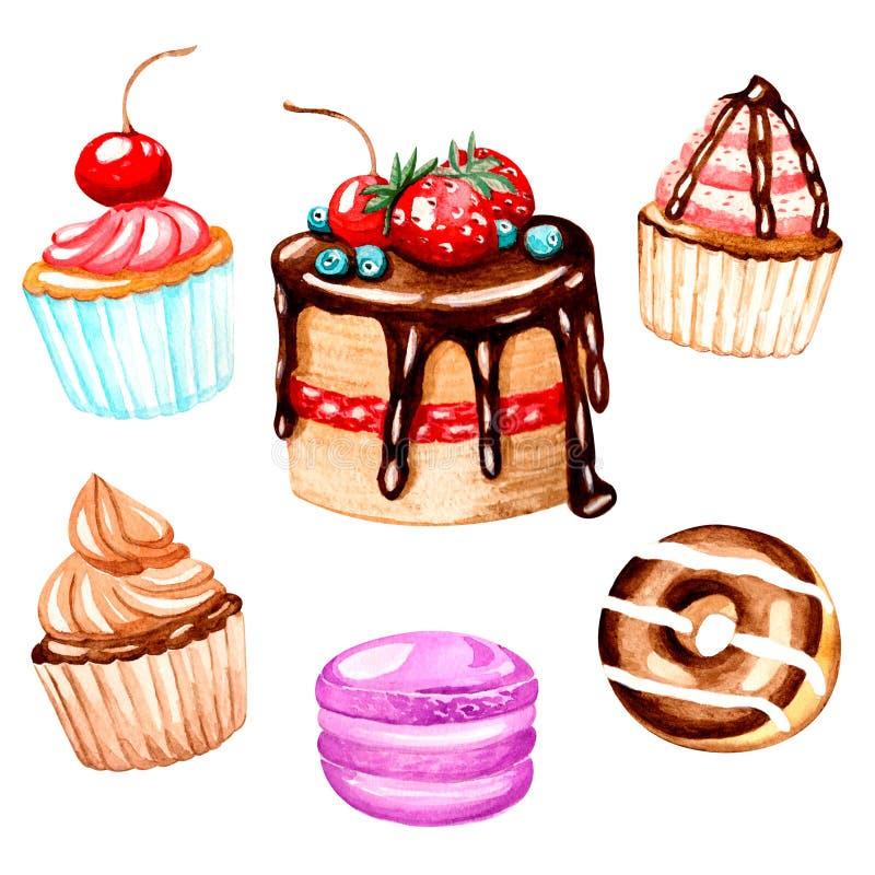 O bolo, queques, macaron, filhós com chocolate é feito a mão com aquarelas Para cópias na roupa, matérias têxteis, papel de pared ilustração do vetor