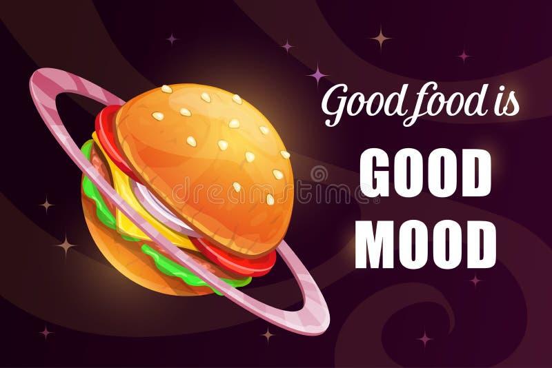 O bom alimento é bom humor Cartaz engraçado da motivação dos desenhos animados com o hamburguer saboroso gigante ilustração do vetor
