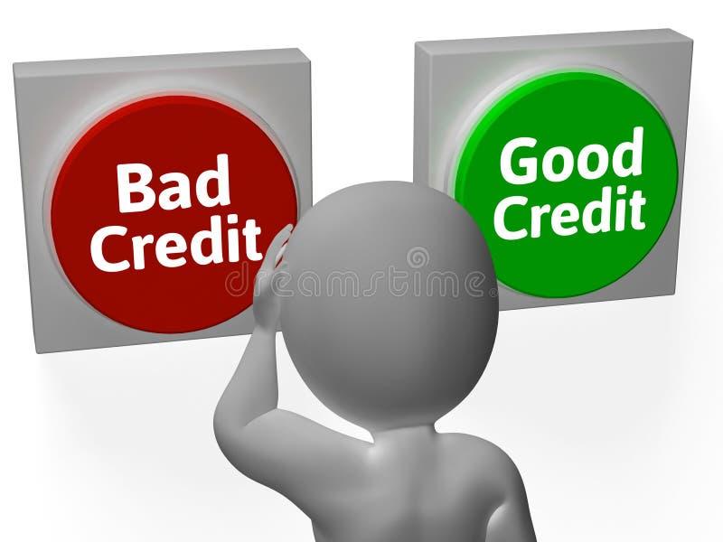 O bom crédito mau mostra o débito ou o empréstimo ilustração do vetor