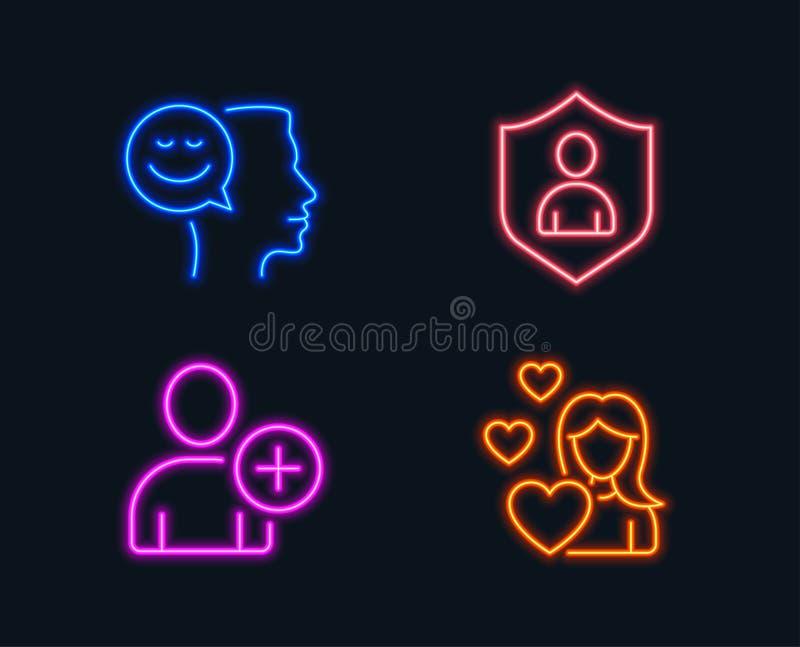 O bom humor, adiciona o usuário e os ícones da segurança Sinal do amor Pensamento positivo, ajustes do perfil, proteção privada ilustração royalty free