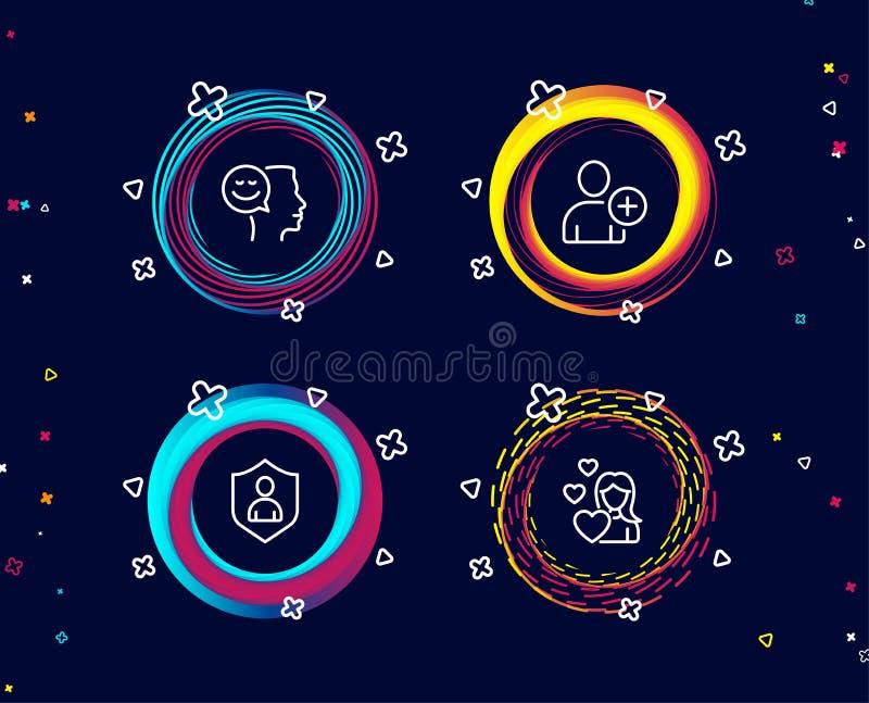 O bom humor, adiciona o usuário e os ícones da segurança Sinal do amor Pensamento positivo, ajustes do perfil, proteção privada ilustração stock