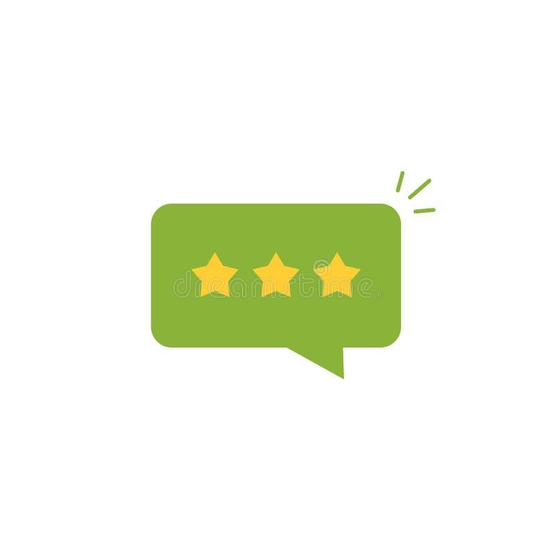 O bom vetor do ícone da avaliação da revisão, revisão stars com taxa positiva no discurso verde da bolha do bate-papo, mensagem d ilustração stock
