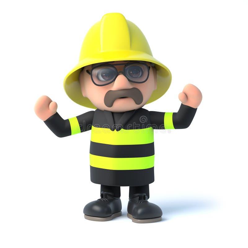 o bombeiro 3d cheering ilustração stock