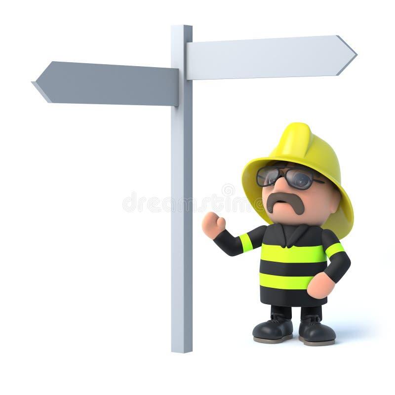 o bombeiro 3d olha o sinal ilustração do vetor