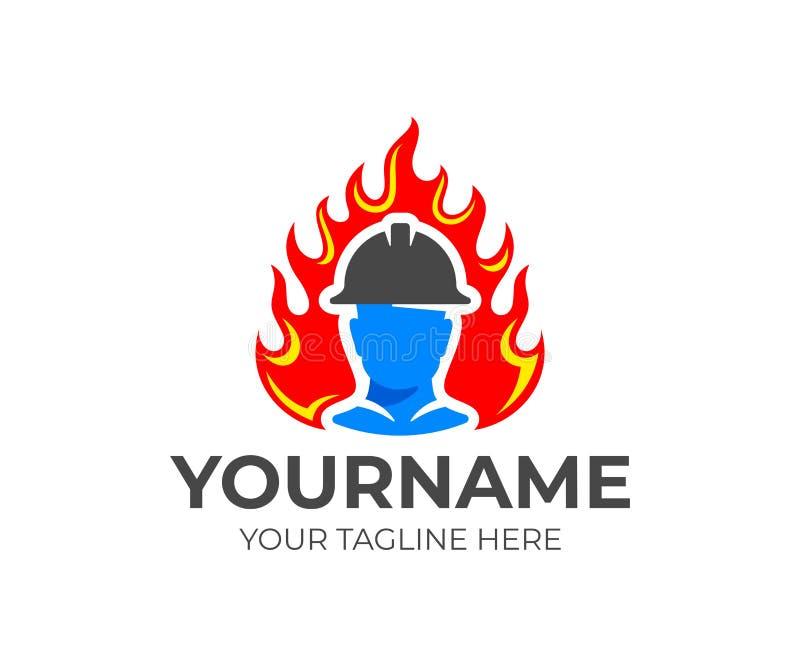 O bombeiro ou o sapador-bombeiro no capacete saem da chama ou do fogo, projeto do logotipo Luta contra o incêndio e departamento  ilustração do vetor