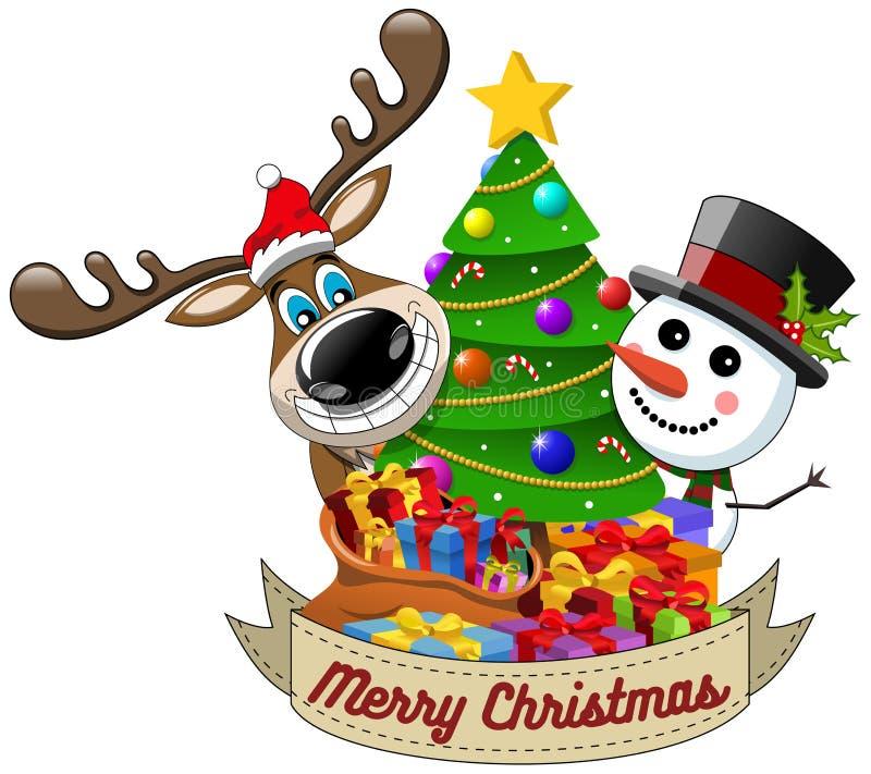 O boneco de neve da rena que deseja o Feliz Natal decorou a árvore do xmas ilustração do vetor