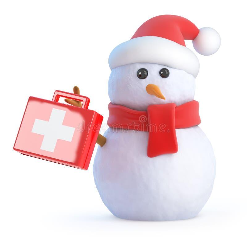 o boneco de neve de 3d Santa sustenta um kit de primeiros socorros ilustração stock