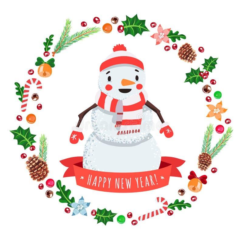 O boneco de neve dos desenhos animados do ano novo feliz em um tampão e o lenço com Natal envolvem o cartão do vetor ilustração stock
