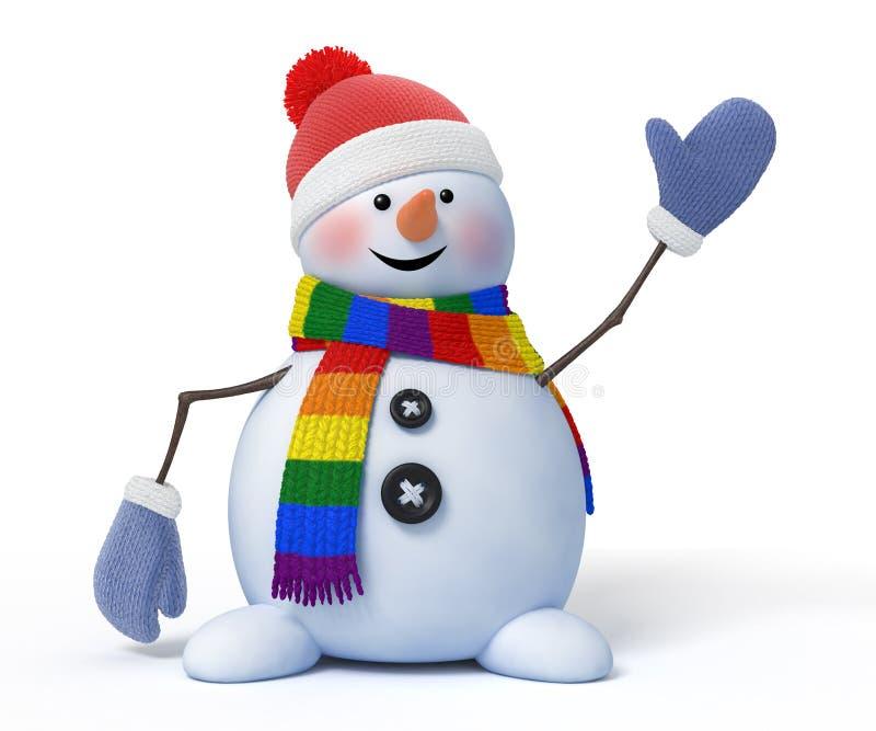 O boneco de neve engraçado com um lenço da cor de Lgbt acena em um fundo branco 3d rendem com um trajeto do trabalho ilustração do vetor