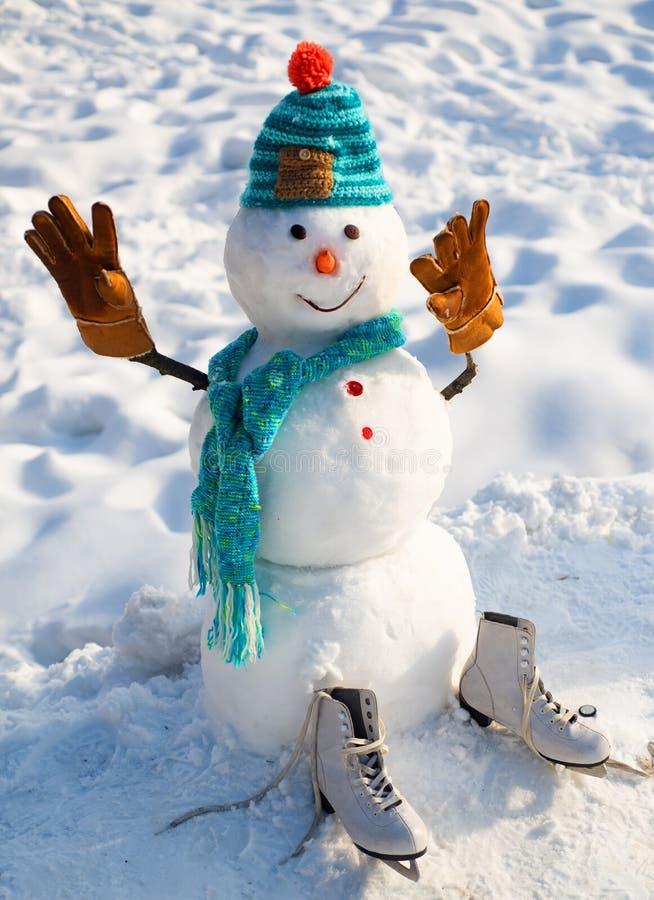 O boneco de neve est? vestindo um chap?u forrado a pele e um len?o Fim do boneco de neve do Natal acima com len?o Boneco de neve  imagens de stock royalty free