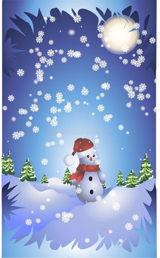 O boneco de neve que está na madeira sob a neve em um fundo azul ilustração do vetor