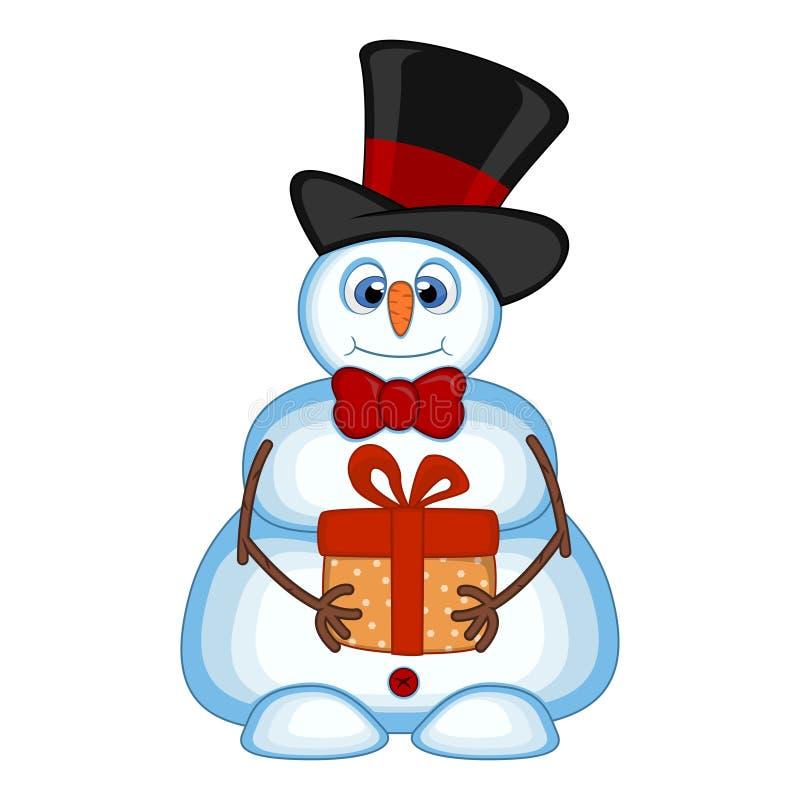 O boneco de neve que leva um presente e que veste um chapéu e laços para seu projeto vector a ilustração ilustração stock