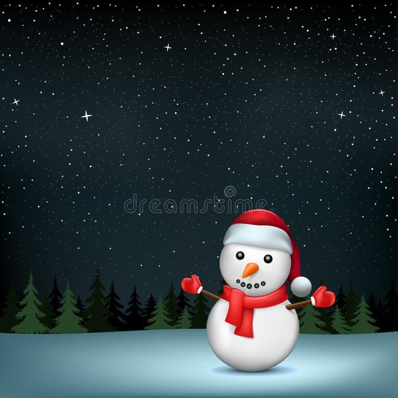 O boneco de neve stars a madeira da noite ilustração do vetor