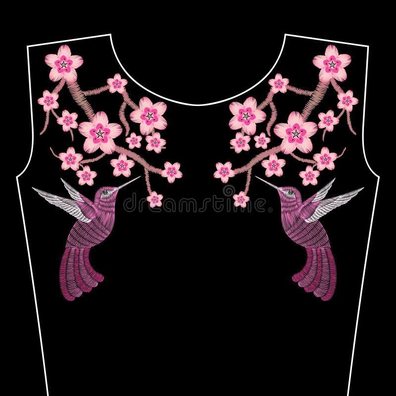 O bordado costura com as flores de Sakura da mola, ramo de Japane ilustração royalty free
