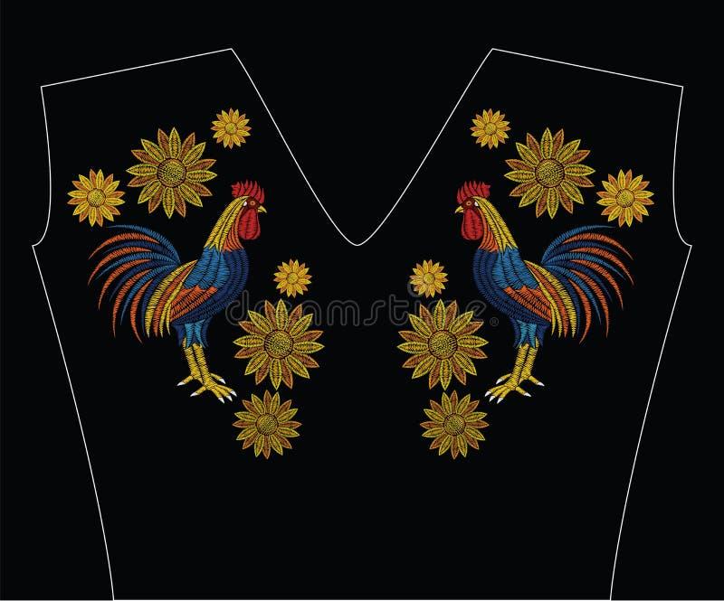 O bordado costura com galo e girassóis na cor pastel ilustração royalty free