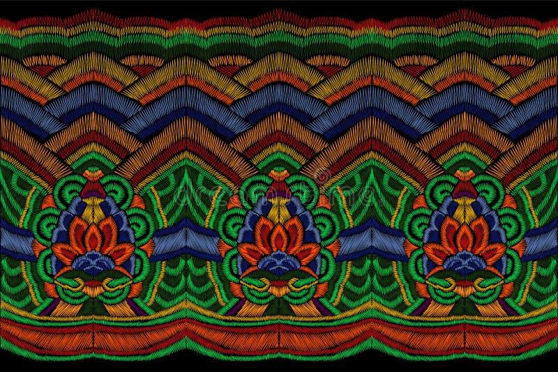 O bordado tradicional veste a decoração Oriental asiático étnico colorido da beira sem emenda coreana nacional da forma ilustração royalty free