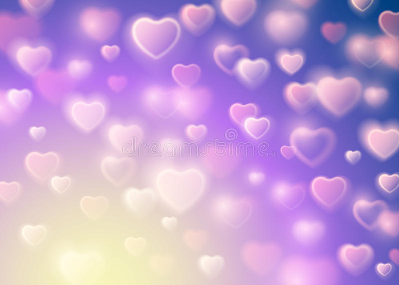 O borrão do dia do ` s do Valentim e o fulgor Bokeh Sparkles Corações de queda brancos Fundo bonito da ilustração do vetor Elemen ilustração stock