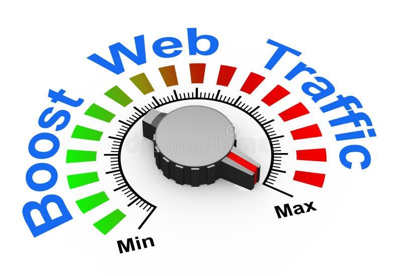 o botão 3d - impulsione o tráfego da Web ilustração stock