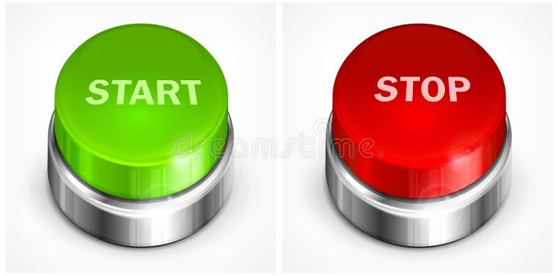 Começo e parada do botão ilustração stock