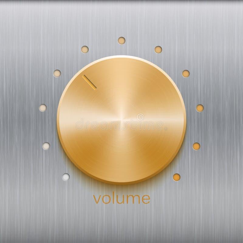 O botão da música com a escala escovada dourada da textura e de ponto isolada no metal texture o fundo ilustração do vetor