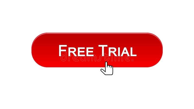 O botão da relação da Web da versão de avaliação gratuita clicou com cursor do rato, cor vermelha, software ilustração do vetor