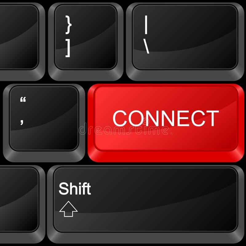 O botão do computador conecta ilustração stock