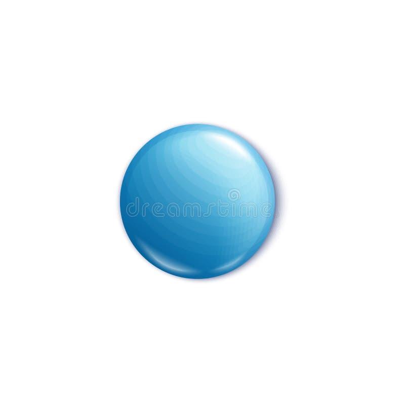 O botão do pino de metal ou o modelo vazio redondo da ilustração do vetor do crachá 3d isolaram-se ilustração do vetor