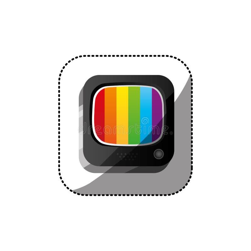 o botão do quadrado 3d da cor da etiqueta com arcos-íris seleciona a televisão velha ilustração do vetor