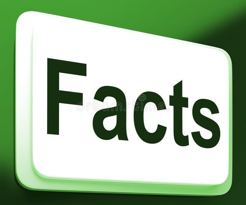 O botão dos fatos mostra a informação e dados verdadeiros ilustração stock