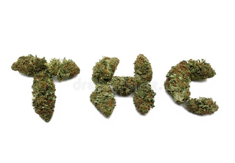 O botão isolado da marijuana soletra THC fotos de stock royalty free