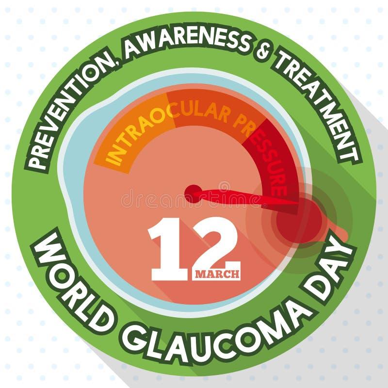 O botão redondo com globo ocular gosta do manômetro que comemora o dia da glaucoma do mundo, ilustração do vetor ilustração do vetor
