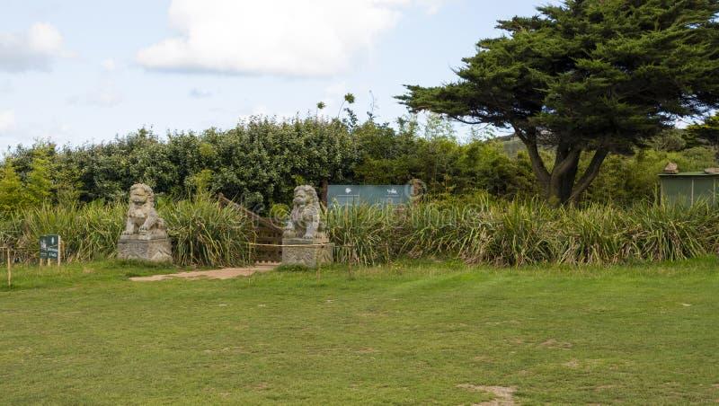 O botanique de Vauville de Jardin, é um jardim botânico privado perto de Beaumont-Haia em Vauville Normandy, France fotos de stock