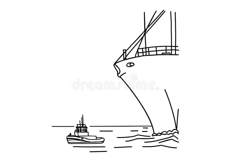O bote e o navio enorme ilustração do vetor
