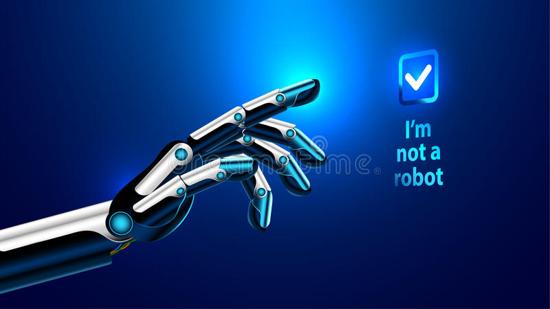 O braço do robô pressiona o botão no écran sensível ilustração do vetor