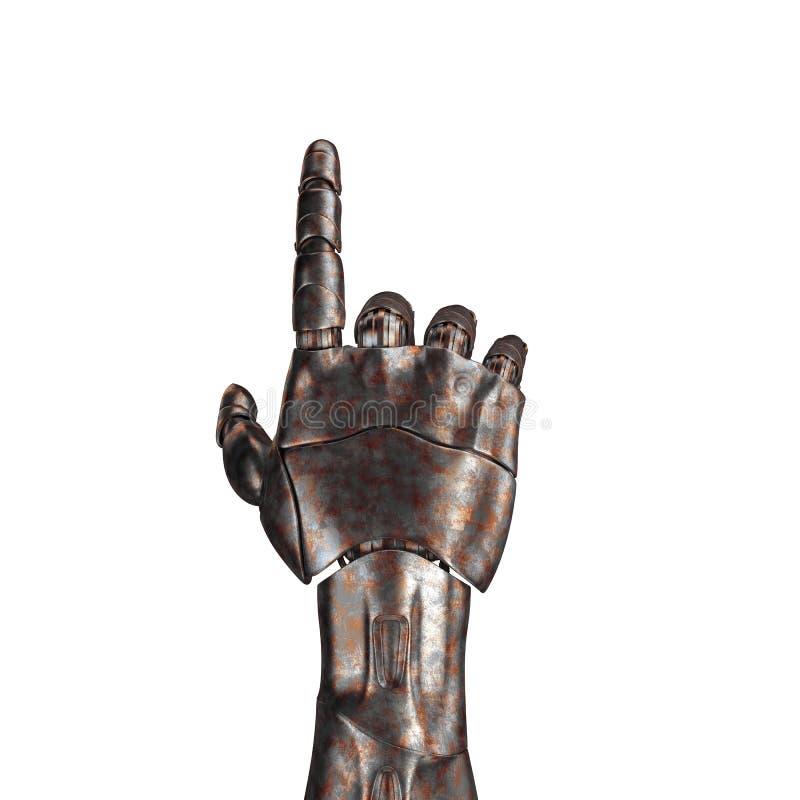 O braço velho do robô é riscado rendição 3d Em um fundo branco fotos de stock