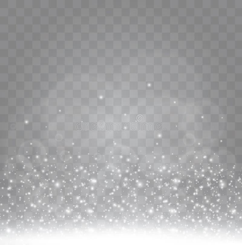 O branco acendem e o efeito da luz especial do brilho dourado das estrelas O vetor sparkles no fundo transparente Sumário do Nata ilustração stock
